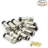 Saisn BNC Male Compression Connectors RG59 Coax Cable Adapter - Pack Of 10