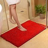 Rutschfeste Badematte Badteppich aus Mikrofaser Chenille Teppich für Badezimmer size 50x80 cm (Rot)