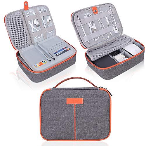 Organizer Travel Cable Organizer, Electronics-Zubehörtasche Travel Gadget Bag zum Aufladen von Kabeln, USB-Laufwerk, Maus, Energienbank, Tablet (bis zu 8 Zoll),Dunkelgrau-Orange. ()