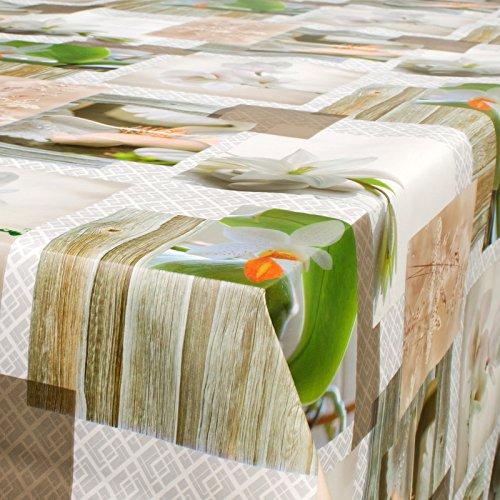 decke Tischdecke abwaschbar Spa Steine Orchideen 100 x 140cm (Spa Steine)