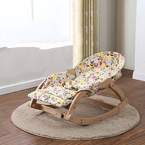 LZTET Baby Schaukelstuhl Liegestühle Beruhigende Vibration Komfort Stuhl Kind Schaukel Wiege BB Wiege Bett Schlaf Artefakt Massivholz,B
