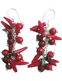 Rote Koralle Ohrringe mit 925 Silber Stift