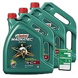 3x 5 L = 15 Liter Castrol Magnatec Diesel 5W-40 DPF Motor-Öl inkl. Ölwechsel-Anhänger
