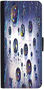 Snoogg Abstract Water Bubbles Graphic Snap On Hard Back Leather + Pc Flip Cov...
