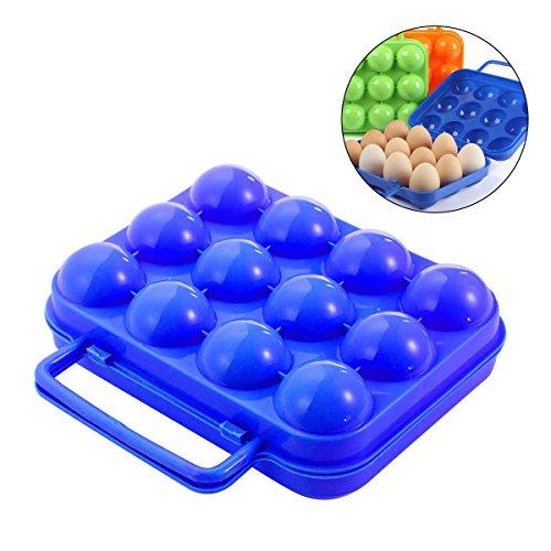 AOLVO Ei Carrier, tragbare faltbare Ei Halterung für Camping Outdoor Picknick Garten Grill, Kunststoff Ei Karton Ei, Box wiederverwendbar Egg Container mit Griff (12Ei Slots), blau