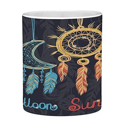 Sin plomo Taza de café de cerámica Taza de té Sol blanco y luna 11 onzas Taza de café divertida Sol indio y luna Atrapasueños Elementos tribales étnicos vibrantes Hippie Retro Multicolor