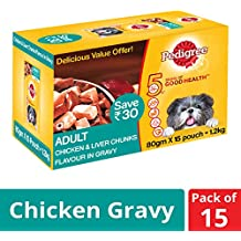 Pedigree Adult Wet Dog Food, Chicken & Liver Chunks in Gravy, 80 g (Pack of 15)