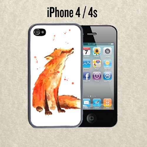 iPhone Case Brown Fox Painting Cute for iPhone 4 / 4s Plastic Black