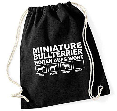 Siviwonder Turnbeutel - MINIATURE BULLTERRIER Bull Terrier MINI - HÖREN AUFS WORT Baumwoll Tasche Beutel schwarz