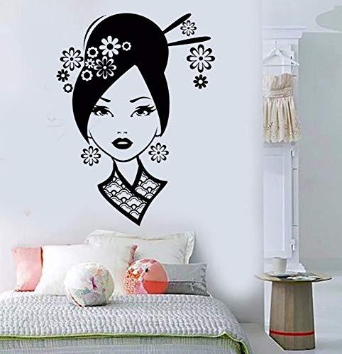 Dalxsh Neue Ankunft Vinyl Wandtattoo Geisha Sexy Oriental Woman Asiatische Kunst AufkleberAbnehmbare Wandaufkleber 42x58 cm