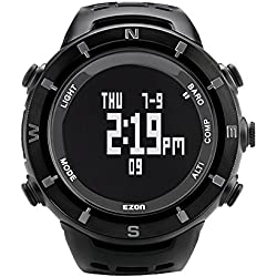 EZON H001C01 Men's Hiking Watch Waterproof Outdoor Sports Watch with Compass Thermometer Barometer Altimeter Climbing Wristwatch Black