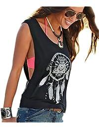 Camisetas Sin Manga Mujer Camiseta Sin Mangas Camisas de Mujer Blusas Camisa Camisetas de Tirantes Anchas Personalizadas Chica Chalecos Verano Poleras Top Estampadas Pluma