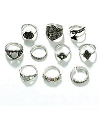 187047c657a6 TOOGOO 10 Unids set Hoja de Moda Anillo Geometrico Conjunto Vintage Crystal  Opal Knuckle Anillos