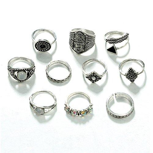 TOOGOO 10 Unids/set Hoja de Moda Anillo Geometrico Conjunto Vintage Crystal Opal Knuckle Anillos Mujeres Punk Anillos Conjunto de Joyas