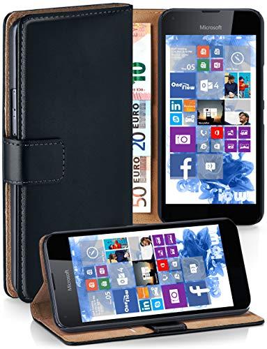 moex® Booklet mit Flip Funktion [360 Grad Voll-Schutz] für Microsoft Lumia 650 | Geldfach & Kartenfach + Stand-Funktion & Magnet-Verschluss, Schwarz