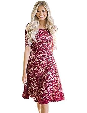 Vestidos Los de mujeres con cuello redondo High-Waist Short-Sleeved Panel de Encaje una falda de línea