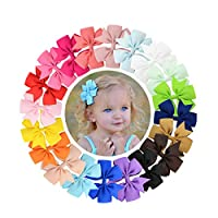 YALUN 20 Colors 3 inches Lovely Hair Bows Clips, Boutique Grosgrain Ribbon Bows Hair Alligator Clips Hair Barrettes Hair Accessories with Gift Bag (20pcs different colors)