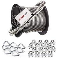 Seilwerk STANKE cuerda de acero inoxidable en cubierta de PVC, 8x guardacabo de acero V4A, 16x abrazadera de acero V4A - SET 3