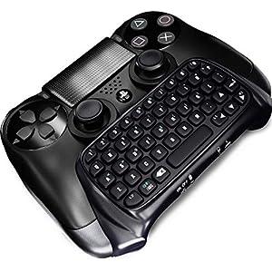 Bluetooth Mini Wireless Tastatur Chatpad, STOGA Wireless Controller Tastatur mit USB Power Kabel für PS4 PlayStation / PS4 Slim / PS4 Pro Dualshock Controller(Schwarz)