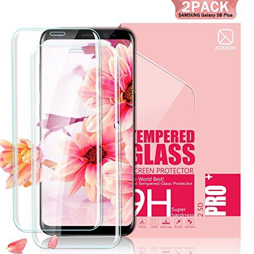 Youer Samsung Galaxy S8 Plus Panzerglas Schutzfolie, [2 Stück] Full Coverage HD Ultra Klar Abdeckung Gehärtetem Glas, HD Displayschutzfolie, Anti-Kratzer, 9H Härte,Klar Glatt, Anti-Fingerabdruck, Blasenfreie 3D Hartglas - Transparent