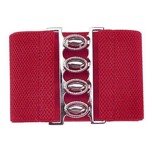 GRACE KARIN Mujeres Elástico Cinturón Ancho Vintage Cinturón elástico Rojo Estilo 2 XL