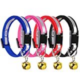 4 Pieces Breakaway Pet Collar Reflective Pet Collar with Bell for Cat Dog, Collar Adjustable Length 6 - 10 Inches, 4 Colors