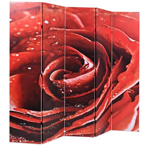 Festnight- Biombo de Rosa Divisor Plegable 200x180 cm