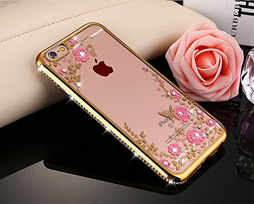 iPhone 7 Strass Hülle,iPhone 7 Handyhülle,JAWSEU Luxus Cool Kreative Shiny Sparkle Pfau Feder Muster Gold Plating Crystal Klar Silikon Bling Glitzer Shiny Bumper Case Schutzhülle Diamant Strass Weich  Gold,Pink Blumen