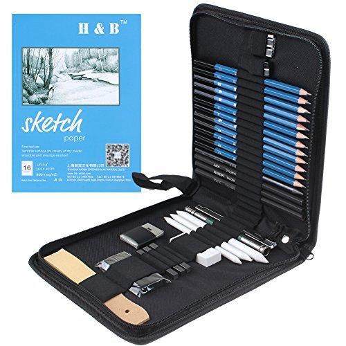 33 Stück Bleistifte Skizzierstifte Set Skizzieren und Zeichnen Professionelle Art Set & Charcoal Bleistifte, Radiergummi, Anspitzer, Stick, Kunst-Zeichnung Zubehör für Künstler, Anfänger, Schüler