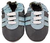 MiniFeet Premium Weiche Leder Babyschuhe, Grau Trainer 12-18 Monate Bild 1
