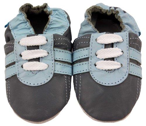 MiniFeet Premium Weich Leder Babyschuhe - Verschiedene Stile - Jungen und Mädchen BabySchuhe - Neugeborene bis 3-4 Jahre Grau Trainer