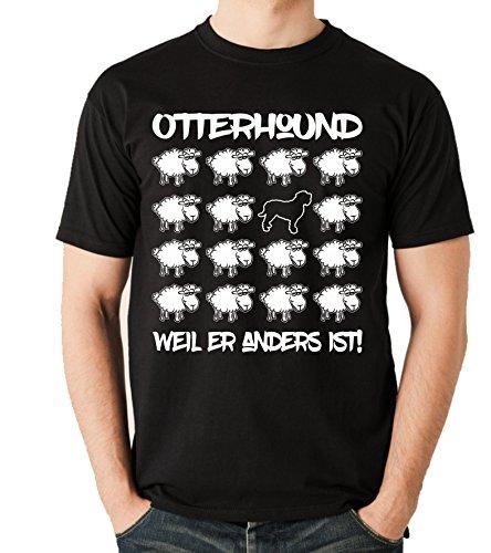 Siviwonder Unisex T-Shirt BLACK SHEEP - OTTERHOUND Bluthund Otter Jagd - Hunde Fun Schaf Schwarz