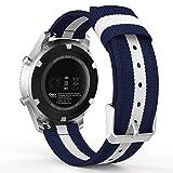 MoKo Bracelet de SmartWatch Gear S3, Bande Sportive de Remplacement Ajustable en Nylon Tissé pour Samsung Gear S3 Frontier / S3 Classic / Moto 360 2nd Gen 46mm / Garmin Vívomove/ AMAZFIT SmartWatch, Bleu+ Blanc