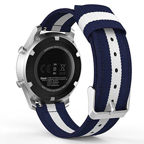 MoKo Armband für Samsung Gear S3 Frontier / Classic / Moto 360 2nd Gen 46mm - Nylon Strick Sportarmband Uhrenarmband Uhr Erstatzband mit Schließe für Samsung Gear S3 Classic Samrtwatch, Blau/Weiß (Weiß Uhrenarmbänder)