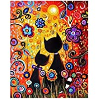Pintura al óleo digital linda de gato llwei258 por número, lienzo para decoración del hogar, sin marco