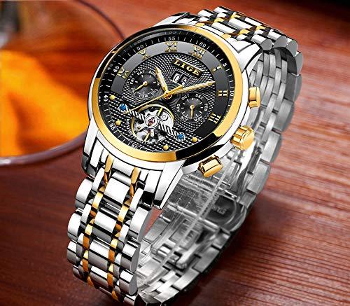 Herrenuhren Top Luxusmarke LIGE Mode mechanische Uhr Herren wasserdicht Edelstahl Business-Uhr schwarz Gold Armbanduhr - Amazon Angebote
