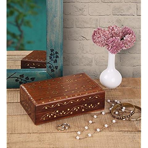 Store Indya, Precioso Joyero Organizador del recuerdo de almacenamiento en el pecho - Inicio decorativo con laton