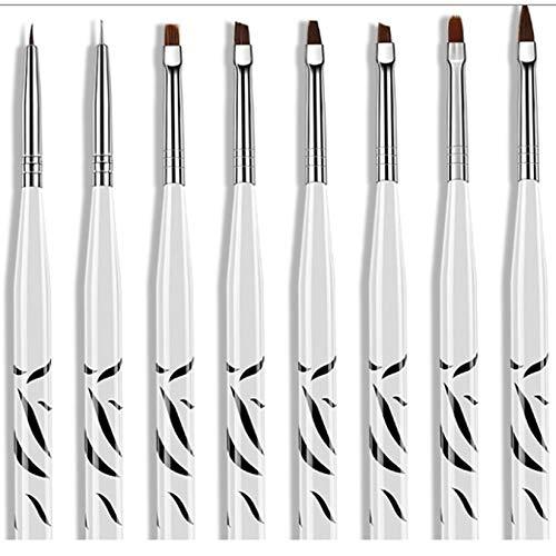 Wenwenzui-ES 8 Stücke Zebra Set Nail Art Pinsel Multi-Color Edelstahl Zugdraht gemalt Nail Pen