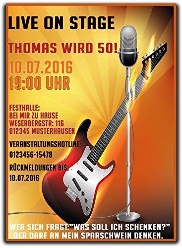 Rock n Roll Gittare Einladungskarte Einladung Geburtstag Party Feier - 40 Stück