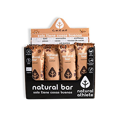 Barritas energéticas -Natural Athlete- 100% natural y orgánico, sin azúcar añadido. Pack 12x40gr (cacao)