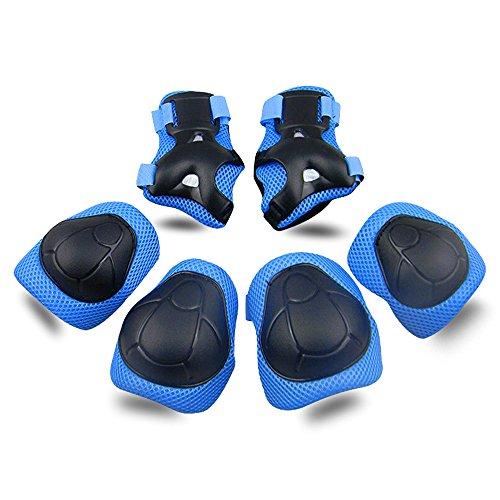 Topfire kinder Schutzset - Kinder Knie Ellenbogen Handgelenk Junior Schützer Protektoren Set für Rollschuhe Skateboard Rollerskates inliner Sport - Blau