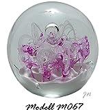 Traumkugel- Briefbeschwerer medium: Motiv Weiße Blume mit rosa über weißem Grund