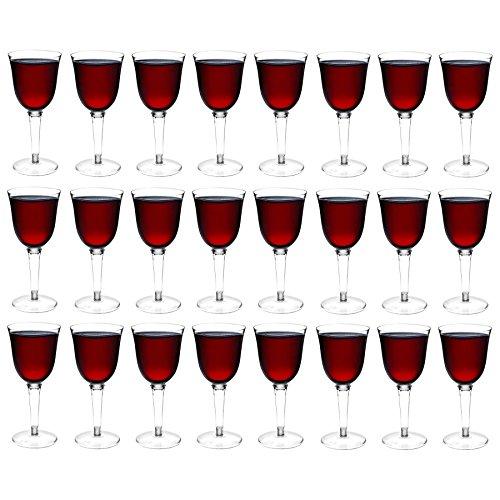 Verres à vin rouge/blanc en plastique - pour l'extérieur - lot de 24