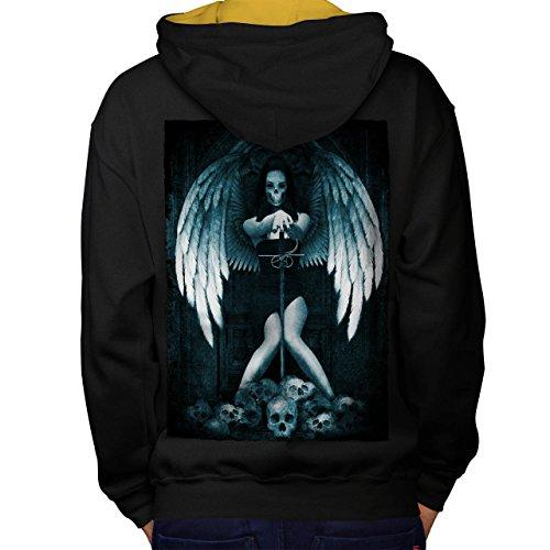 Engel Metall Tod Horror Schwert Mädchen Men M Kontrast Kapuzenpullover Zurück   (Kinder Krieger Tod Kostüme)