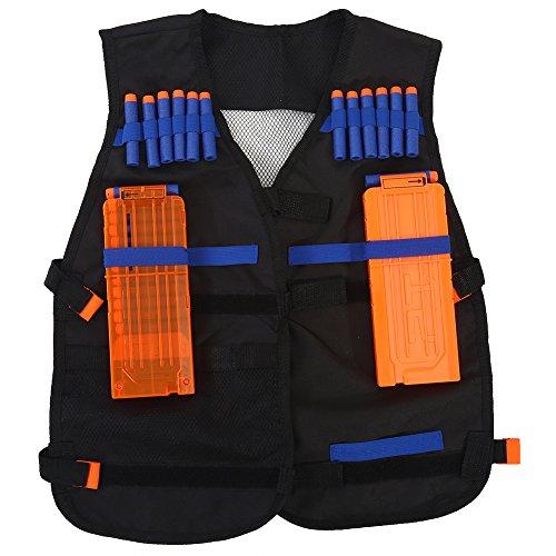 Kinder Elite Taktische Weste Jacken Kit Set für Nerf Pistolen N-Strike Elite Series, verstellbare Oxford Tactical Armour Weste mit 2 Reload Clips + 40 Refill Bullet Dart Zubehör + 1 Dart Strap Armband (Armband Strap Clip Mit)