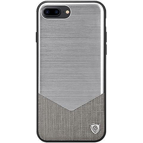 COVO® Metal Cepillado + Premium Faux Cuero Smartphone Elegante Funda para Apple iPhone 7 Plus (Plata)