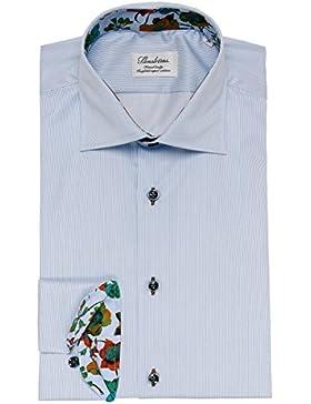 Stenstroms Hombres camisa a rayas de cuerpo ajustado WHTE/BLUE