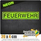 Feuerwehr 20 x 4 cm IN 15 FARBEN - Neon + Chrom! Sticker Aufkleber