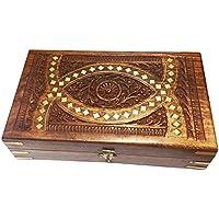 In legno di monili intaglio intarsio ovale, Storage Box, scatola d'epoca, 10x6inch, Regalo il vostro San Valentino giorno speciale