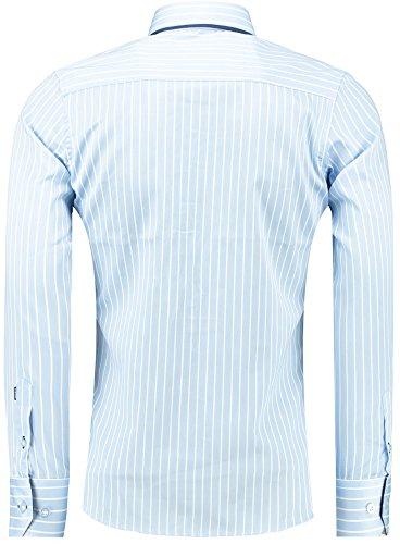 Barbons Herren Premium Streifen Hemd Modern-Fit Designer Hemd mit Kontrast  Blau S M L XL XXL ...